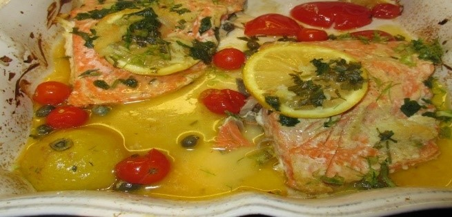 wild caught salmon with dijon and caper berries